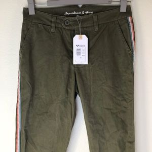 Military Green Mid Waist Pants by Roxy Size 24 NWT